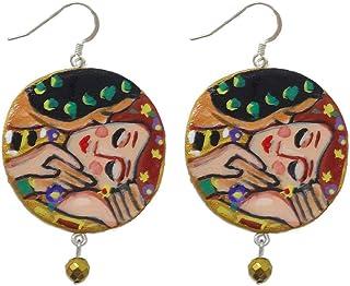 Orecchini in ceramica dipinti a mano – IL BACIO DI KLIMT - Orecchini pendenti da donna, Gioielli in ceramica dipinta, Ganc...