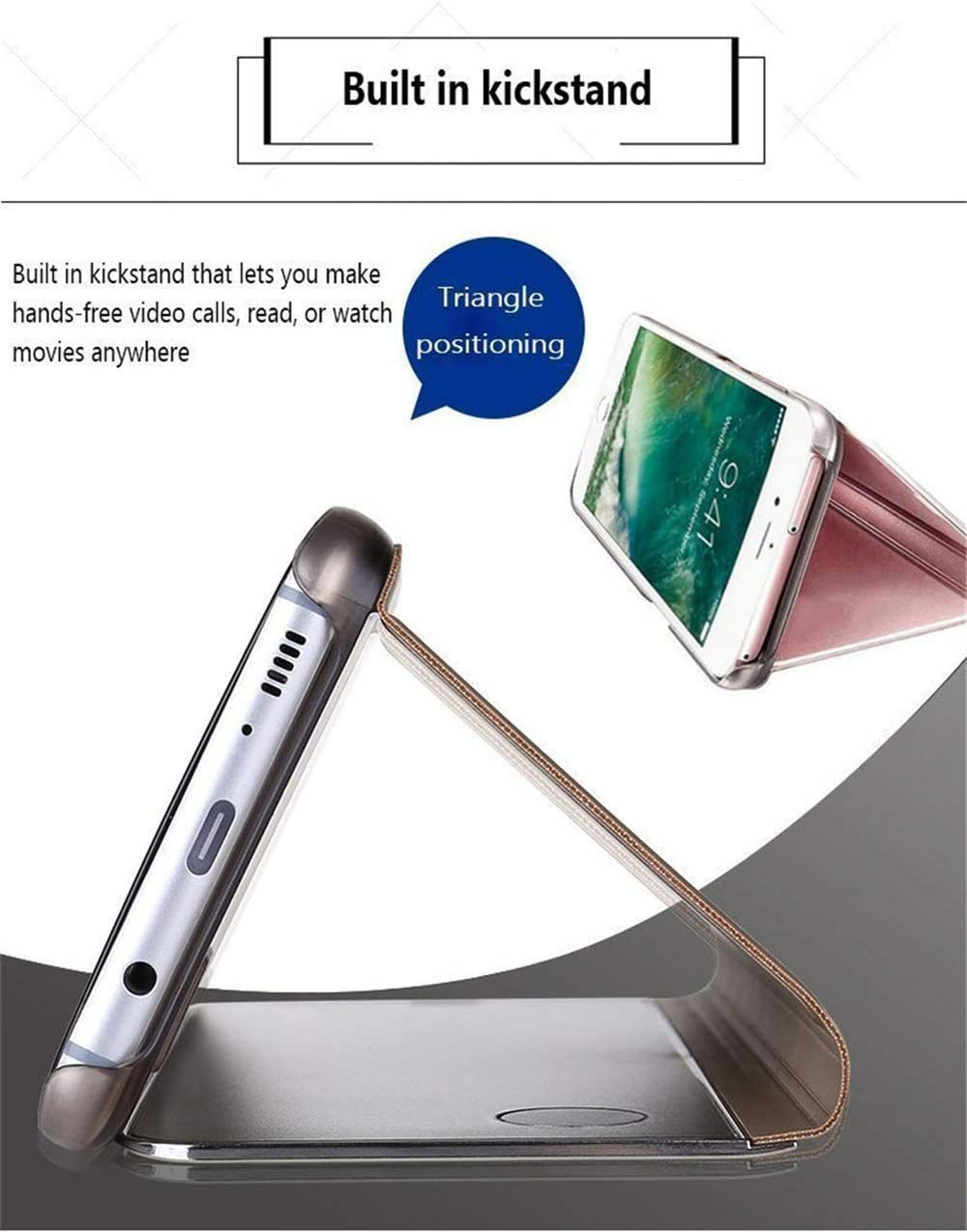 LEMAXELERS Samsung Galaxy S21 Ultra Case Slim Mirror Design Clear View Flip Bookstyle Ultra Slim Protecter Shell with Kickstand Protective Cover for Samsung Galaxy S21 Ultra Mirror PU PU Gold