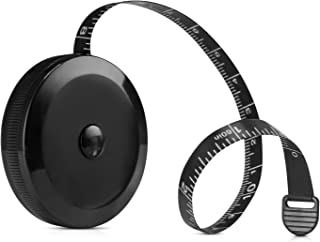 Tape Measure for Body, Measurements Tape Retractable Measuring Tape for Cloth, Sewing, Tailor, Fabric, and Crafts, Small Tape Measure with Push Button (Retractable Dual Sided Black)