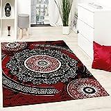 Paco Home Tapis Design avec Fil Brillant Motifs Classique Ornements Rouge Noir Blanc,...