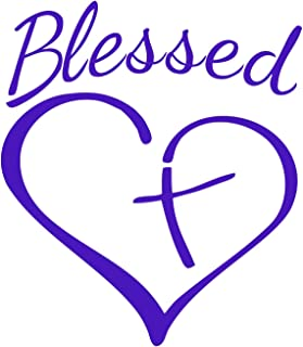 Blessed Cross and Heart Christian Decal Vinyl Sticker|Cars Trucks Vans Walls Laptop |5.5 x 4.5 in| (Violet)