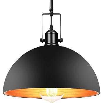 "Industrial Barn Pendant Light with Bulb - [UL Listed] with 4 Hard Stems Adjustable Length Vintage 9.25"" Dome Pendant Light"