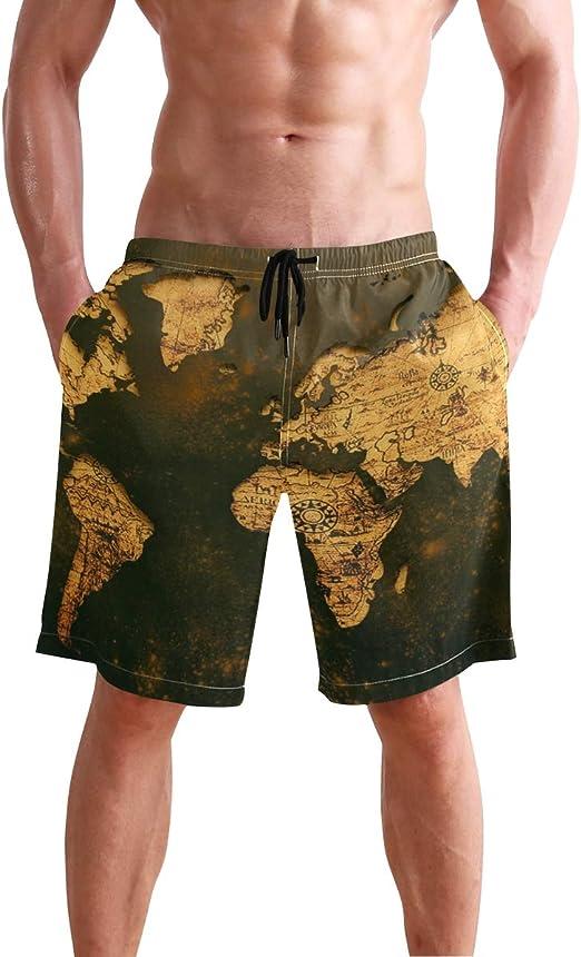 MONTOJ - Pantalones cortos de playa con diseño de mapa del