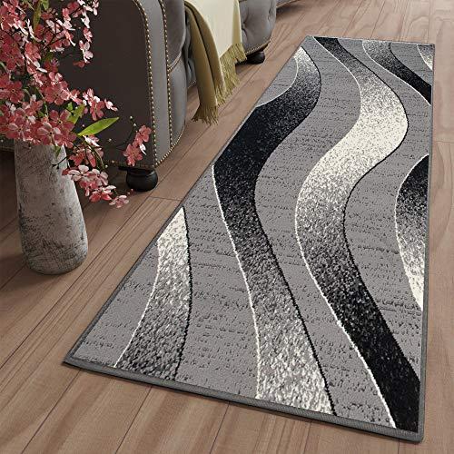 TAPISO Dream Tapis de Couloir Cuisine Design Moderne Gris Noir Blanc Ondes Vagues Fin Léger Poil au Mètre 70 x 130 cm
