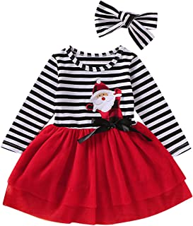 CM C&M WODRO Baby Toddler Girls Christmas Outfits Kids Long Sleeve Santa Stripe Tulle Dress Skirts with Headband