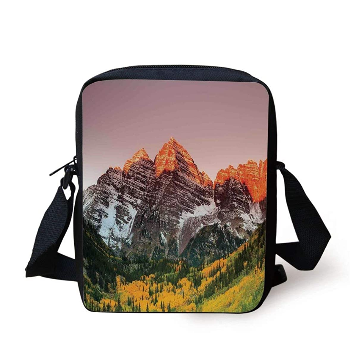 Apartment Decor,Scenic Western American Mountains on the Valley with Snowy Peaks at Sunset Time Landscape,Multi Print Kids Crossbody Messenger Bag Purse