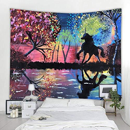 shuimanjinshan Tapiz de Caballo Pegasusa Colgante de Pared Universo Estrellado Tapiz de Pared psicodélico Tapiz de Dormitorio Hippie Bohemio 150X180Cm