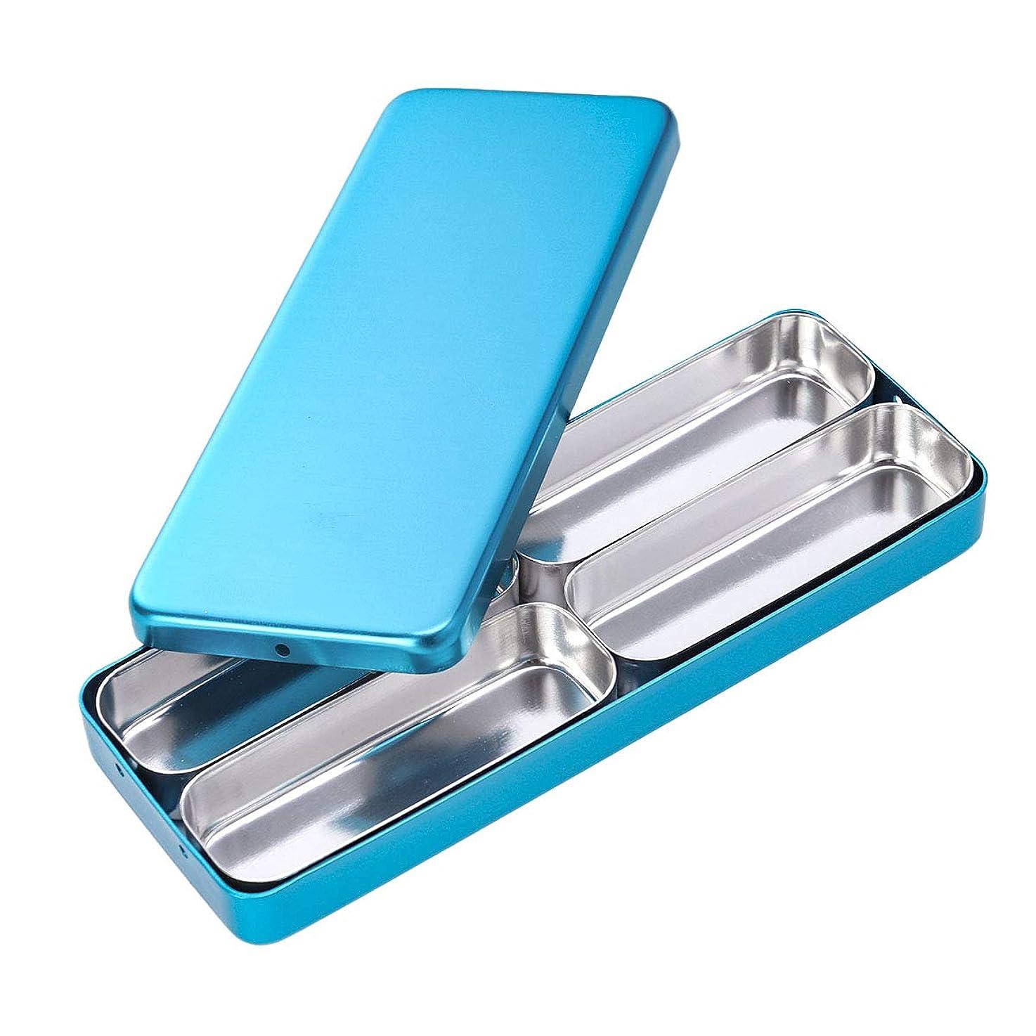 指定雪かすかなHealifty 歯科材料の針の消毒箱4つのコンパートメントアルミニウム消毒箱の青