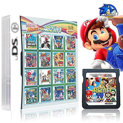 482 in 1 Game Cartridge , DS Game Pack Card Compilations, With Mario & Sonic Series, Super Combo Multicart for DS, NDSL, NDSi, NDSiLL/XL, 3DS, 3DSLL/XL, New 3DS LL/XL, 2DS, New 2DS LL/XL