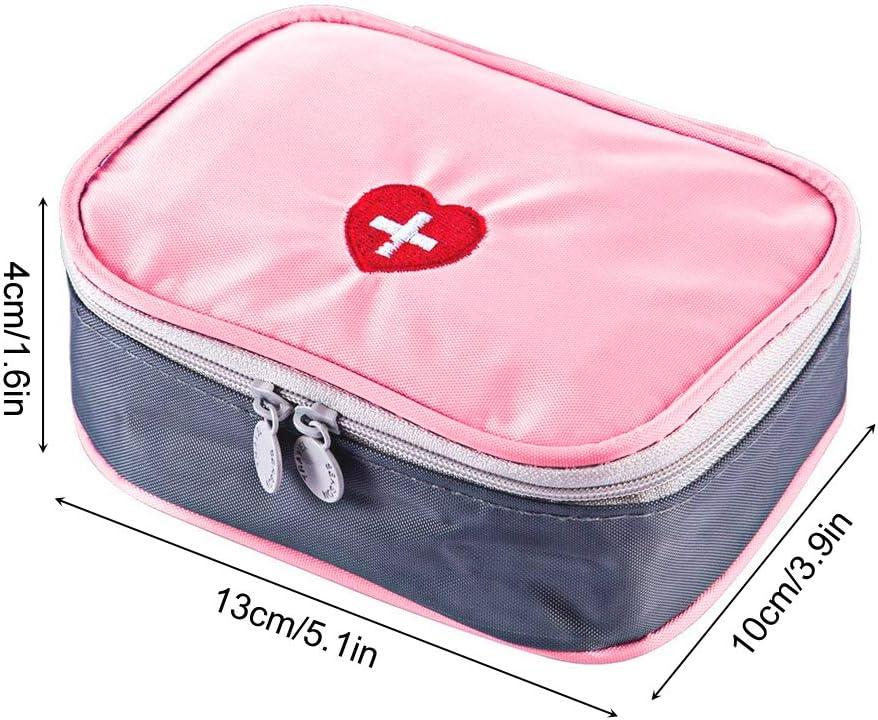 SwirlColor P/íldora port/átil de Primeros Auxilios Bolsa Organizador f/ácil Lleva Medicina Envase con Multi-Bolsillo de Viaje Gris