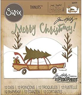 Sizzix, Multi Color, Thinlits Die Set 662419, Home for The Holidays by Tim Holtz, 12 Pack, One Size