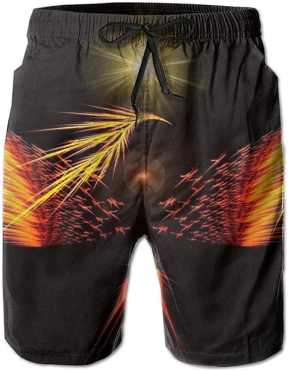 YongColer Men Cool Surfing Beach Board Shorts Swim Trunks - Cool Abstract Phoenix Bird Art Black