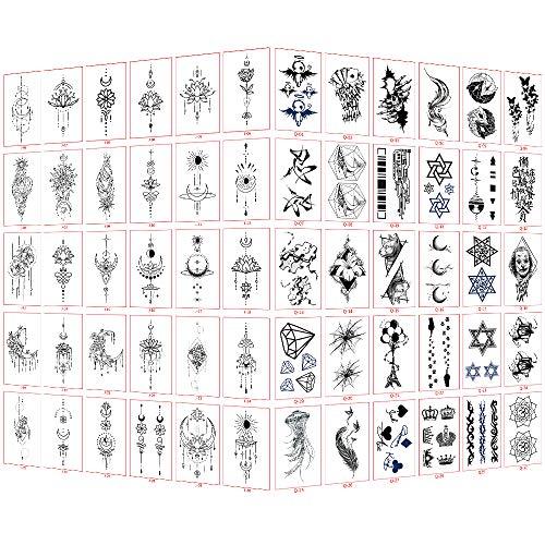 Tatuajes temporales para adultos, mujeres, hombres, niños (60 hojas), tatuajes temporales a prueba de agua, pegatinas de arte corporal falso, mangas de brazo, cuello, muñeca, tatuajes