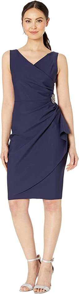 Short Slimming Dress with Side Ruched Skirt