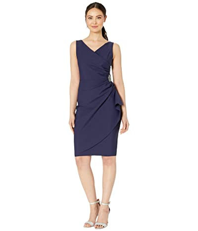 Alex Evenings Short Slimming Dress with Side Ruched Skirt (Navy) Women