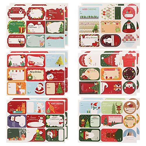 AUXSOUL 36 Hojas / 324 Piezas de Pegatina de Navidad Etiquetas Navideñas Adhesivas Etiquetas Autoadhesivo para Regalos Tarjetas de Felicitación Scrapbooking Sellos de Sobres Diario Decoración