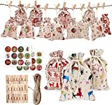 DSDecor Christmas Advent Calendar Bags Bags 24 Days Burlap Hanging Advent Calendar Candy Gift Drawstring Bag Countdown Decoration with Advent Numbers Stickers, Clips, Rope