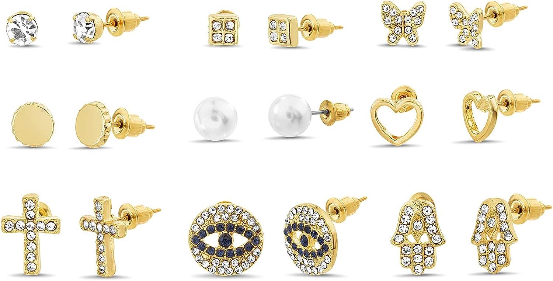 Steve Madden Rhinestone Stud Earrings for Women Nine Pair Set