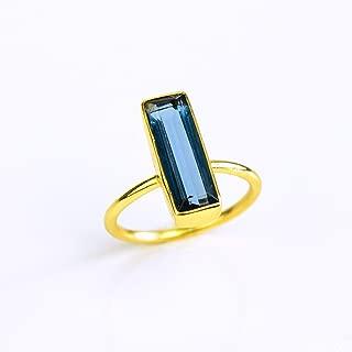 Kyanite Gemstone Bar Ring, Geometric September Birthstone Ring, Adira Ring Series