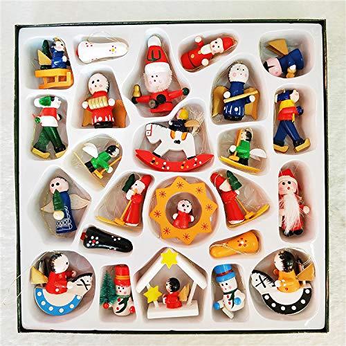 Queta 24 Piezas Adornos de árboles Navidad, Decoración Colgante de Madera, Pequeños Juguetes en Caja pequeños, decoración de Manualidade DIY de Navidad, Adornos navideños de Dibujos Animados