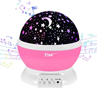 [Update]Esonstyle Musical Night Light,360 Rotating Star Lamp Baby Musical Lamp with Rechargeable Battery,12 Songs to Relax for Sleep Kids