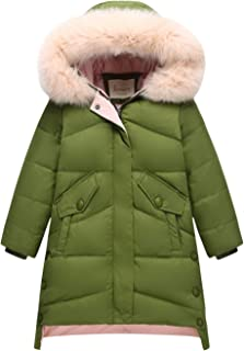 Little Girls Solid Hooded Long Down Coat Lightweight Winter Windproof Puffer Jacket with Fur Trim