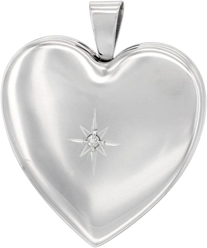 2021 1 inch Sterling Special price for a limited time Silver Diamond Heart Necklace Locket 4 Women