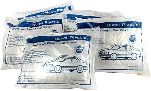 2021 5 high quality Pack Clear new arrival Plastic Disposable Car Cover Temporary Universal Rain Dust Garage sale