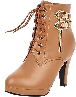 ELEEMEE Women Fashion Platform High Heel Bootie Zip