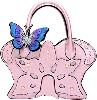 Trendy Ladies Handbags Fashion Painted Butterfly Shoulder Bag National Style Stereotype Diagonal Package Zgywmz (Color : Pink, Size : 25 * 12 * 20cm)