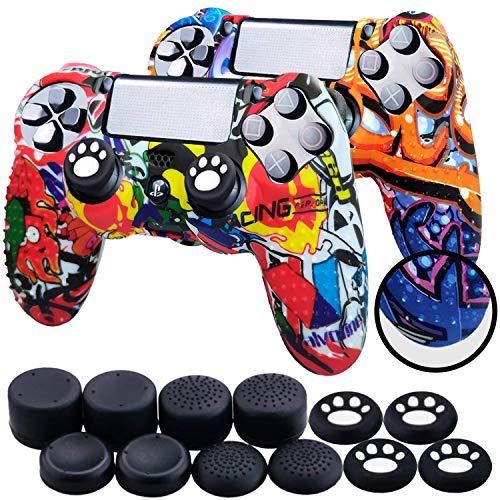Th-some Fundas para Mando Sony PS4/ PS4 Pro/ PS4 Slim Dualshock 4, Silicona Camuflaje Carcasa Protectora Antideslizante para Play 4/ Playstation 4 (MulticolorA 2 Pcs)