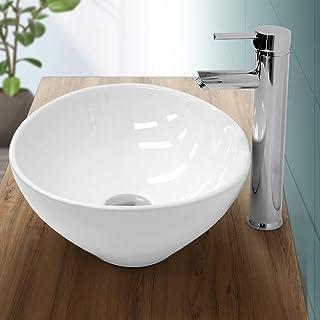 ECD Germany Lavabo Ovalado cerámica - lavadero Blanco - Aseo lavamanos sobre encimera - 410 x 330 x 142 mm - diseño Moderno - Pila desagüe para el Cuarto de baño Apoyo Encima mesada