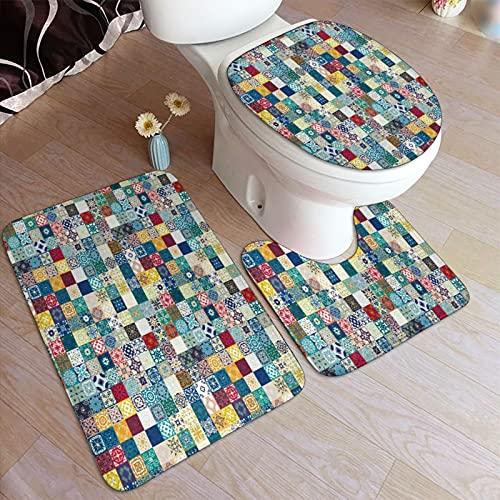 Juego de alfombrillas baño 3 piezas,Mega Magnífico Patchwork Coloridos Azulejos M,juego de alfombras, alfombra de baño antideslizante,alfombrilla de contorno,alfombras para cubrir la tapa del inodoro
