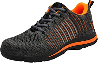 Dhykeg Men's Outdoor Breathable Mesh Woven Casual Sports Work Shoes Safety Shoes