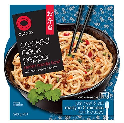 Obento Cracked Ramen Noodle Bowl (Fertiggericht für die Mikrowelle), Schwarzer Pfeffer, 240 gramm