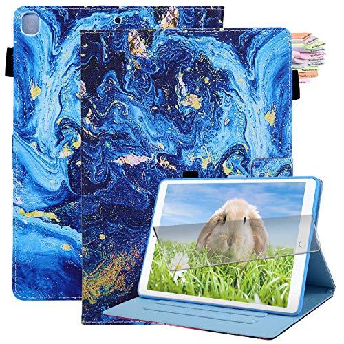 Billionn iPad 10.2 Case 2020 iPad 8th Generation Case / 2019 iPad 7th Generation Case, with Pencil Holder, Auto Sleep/Wake, Screen Protector, Blue Marble