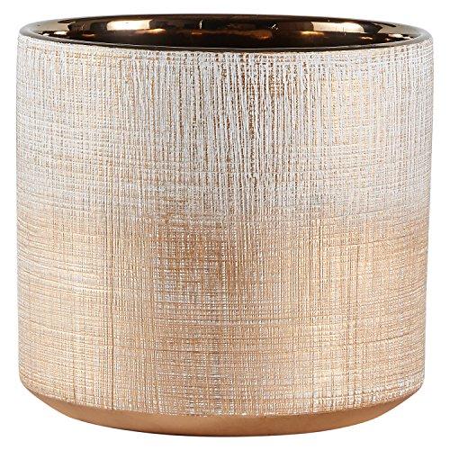 Amazon Brand – Rivet Rustic Stoneware Crosshatch Indoor Outdoor Flower Plant Pot, 6.25'H, Bronze, Medium Planter
