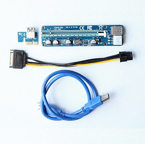 PCI-E Riser Carcasas Ubit minería dedicada tarjeta gráfica PCI-E Riser cable de extensión de 1x A 16x tarjeta elevadora 164P/60cm USB 3.0& Molex a SATA cable de alimentación cable