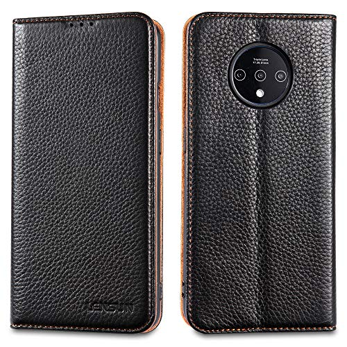 LENSUN Echtleder Hülle für OnePlus 7T, Leder Handyhülle Magnetverschluss Kartenfach Handytasche kompatibel mit OnePlus 7T (6,55 Zoll) – Schwarz(I7T-DC-BK)