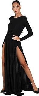 Elisabetta Franchi AB06106E2 - Vestido largo plisado con aberturas negras