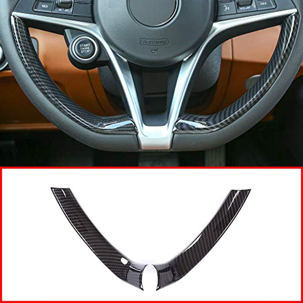 Cuque Gear Shift Knob Head Cover Self Adhesive Design Car Interior Decorative Sticker Protector Trim Black for Alfa Romeo Stelvio 2017 2018 and Giulia 2016 2017 2018