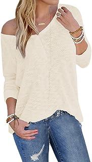 YOINS Bluse Damen Pullover Damen Langarmshirts Schulterfrei Oversize Tshirts Damen Herbst V-Ausschnitt Blusen Oberteile Ca...