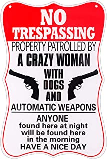 WaaHome Private Property No Trespassing Signs Funny Trespassing Warning Sign, 7.8''X11.8''