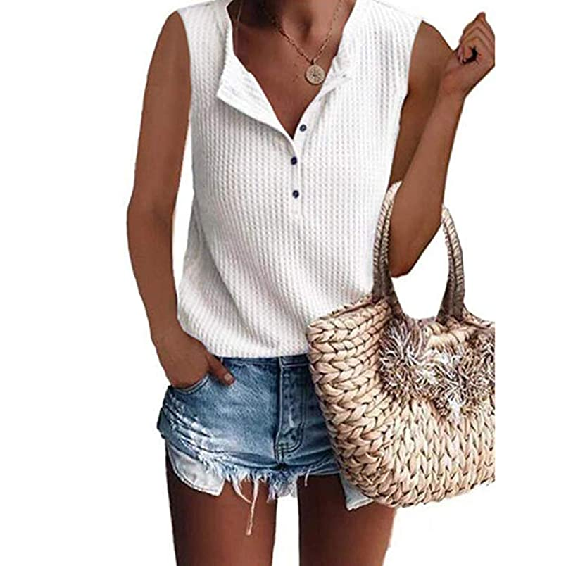 GHrcvdhw Women's Waffle Knit Tunic Tops Summer Loose Sleeveless Button Up V Neck Henley Casual Shirts zj007150788
