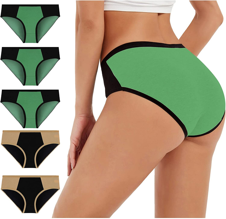 xoxing 5PC Plus Size Women's Basic Elastic Comfortable Intimates Sexy Solid Color Underwear Sleepwear Lingerie(K)