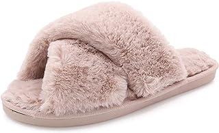 AONEGOLD Pantofole da casa per Donna Warmer Peluche Pelliccia Flip Flops Pantofole Antiscivolo Scarpe per Autunno/Inverno