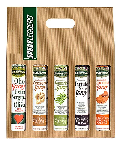 SPRAYLEGGERO Confezione Regalo spray: olio extravergine d'oliva, condimento al rosmarino, zenzero, curcuma e al tartufo nero