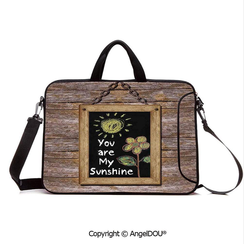 AngelDOU Laptop Shoulder Bag Waterproof Neoprene Computer Case Love Phrase with Flower and Hand Drawn Sun Figure on Framed Blackboard Wooden Wa with Handle Adjustable Shoulder Strap and External Sid