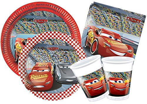 Kit Party Tabla Disney Cars 3 L (24 persone) Rojo