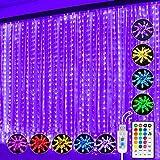 String Light Curtain,300 Led Window Curtain String Light,Fairy Light Curtain,16 Changing...